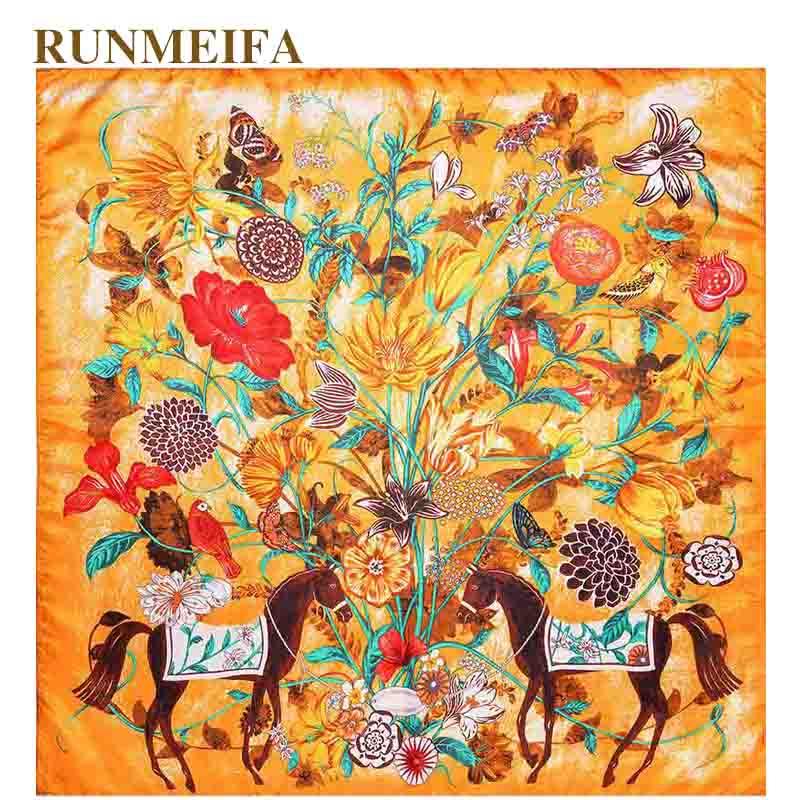 2018 nueva arrival100 % real Sarga de seda cuadrado bufanda mujeres moda lujo pañuelo con estampado de caballo chal 130x130cm Bufandas grandes para damas