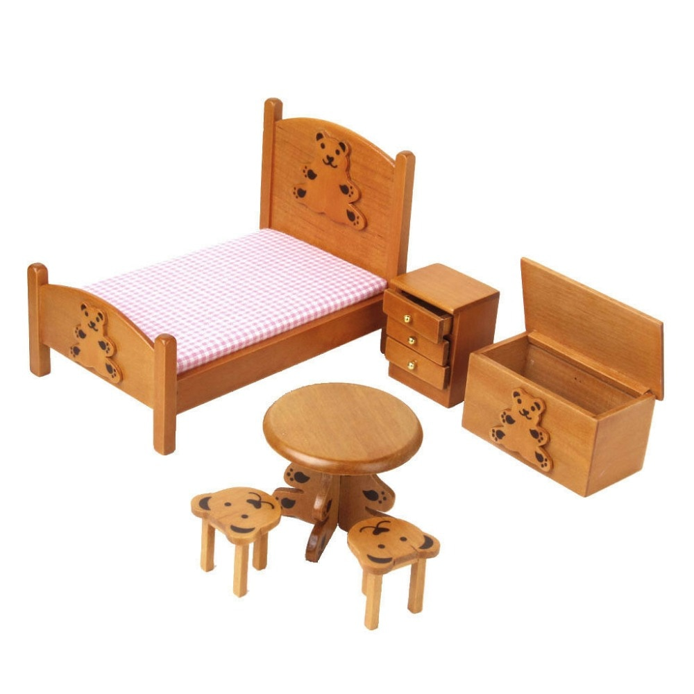 1:12 Dollhouse Miniature Furniture Nursery Child Room Bedroom Set Bed Nightstand Table Stool Storage Box Lovely Bear 6PCS WB014