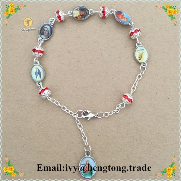 Free shipping exquisite religious rhinestone rosary bracelet sliver chain bracelet,clear cute bracelet with epoxy saint