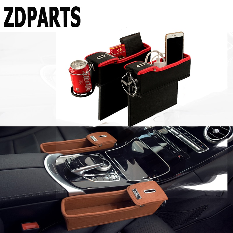 ZDPARTS 1PC For VW Passat B5 B6 B7 Golf 4 7 6 T5 T4 Polo Mazda 3 6 CX-5 CX-3 Jeep Car Seat Gap Organizer Box Coins Drinks Holder