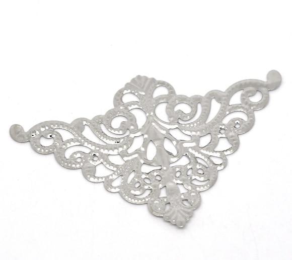 10 Uds., envolturas de filigrana de Color plateado, conectores triangulares para la fabricación de joyas, conectores de 4,8x7,5 cm
