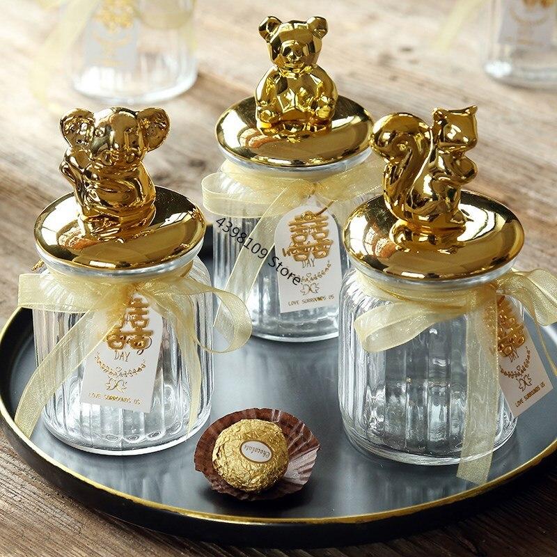 2019 nuevo tarro de dulces para boda dulces europeos tarro de vidrio transparente animal chapado en oro caramelo tarro de alta gama caja de regalo de boda
