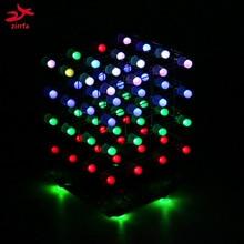 free shipping LED DIY KIT 3d4 RGB Light cubeeds Electronic DIY Kit 4X4X4