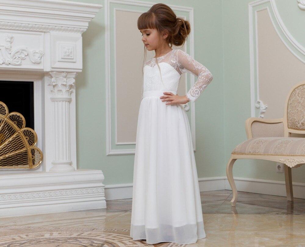2020 nuevo Vestido de playa de manga larga de encaje de flores para niñas vestido de Vestido de primera comunión santo para Niñas para boda/fiesta de cumpleaños