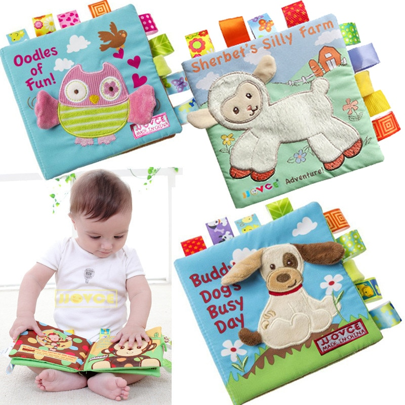 Animal Style Monkey/Owl/Dog Newborn Baby Toys Learning Educational Kids Cloth Books Cute Infant Baby
