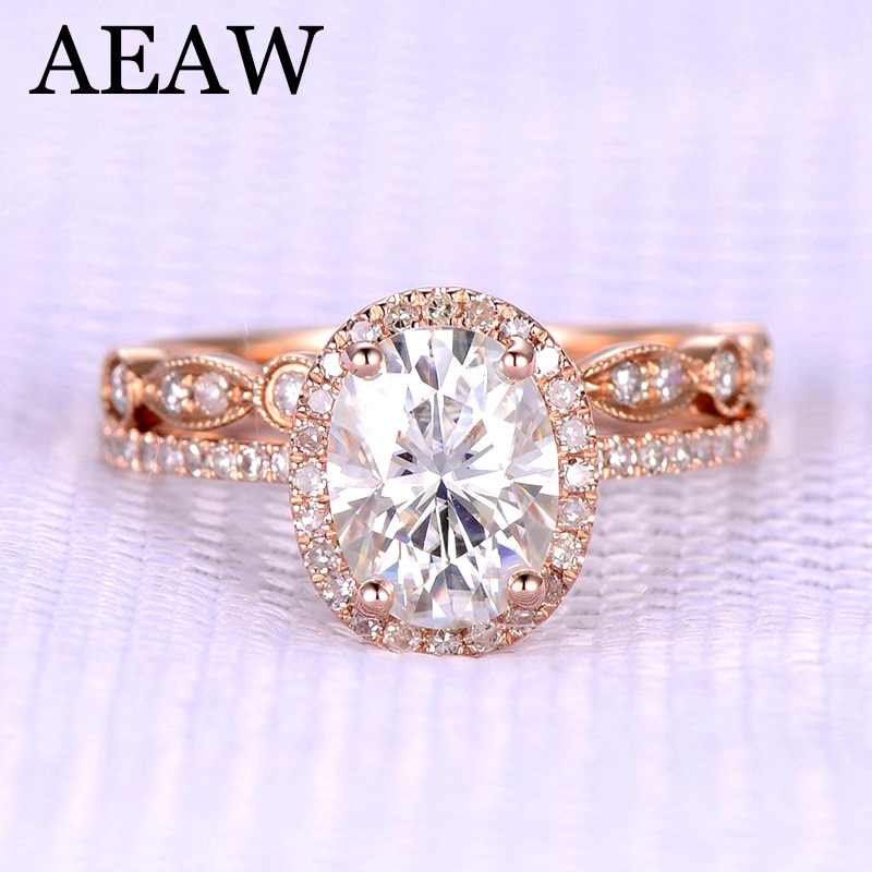 AEAW corte ovalado compromiso y anillo de diamante de Moissanite conjunto Halo anillo genuino 10 K/14 K oro rosa para mujeres prueba positiva