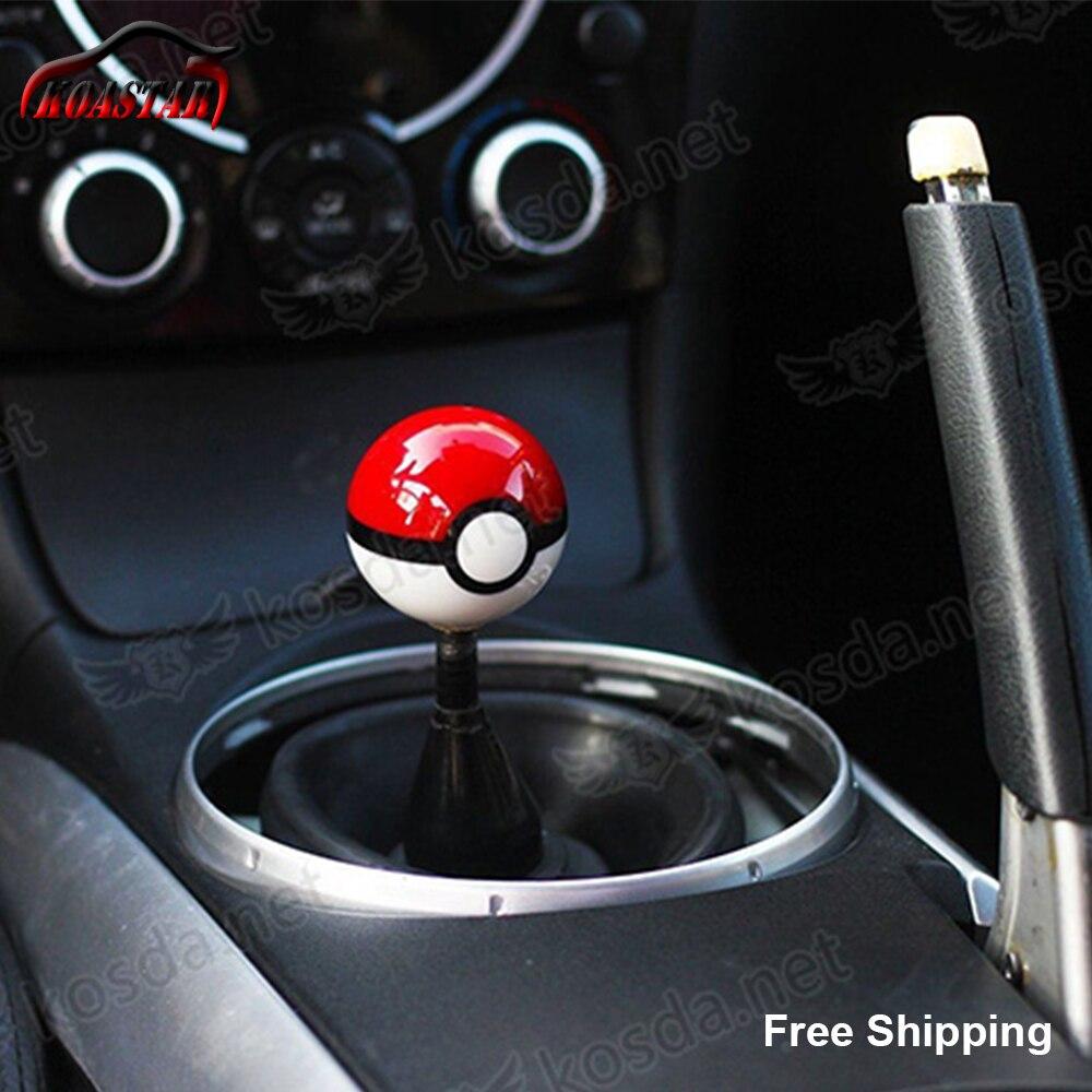 Pokemon go bola engrenagem shift knob pokeballs 54mm plástico universal racing cabeça engrenagens botão 3 threads