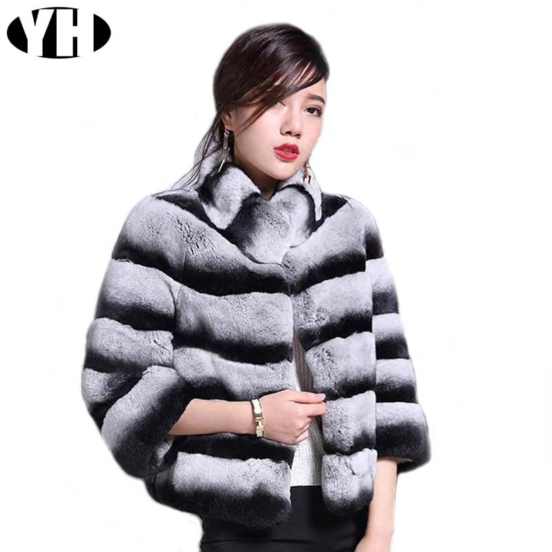 Chinchila casaco de pele das mulheres inverno quente rex naturais pele de coelho outerwear Senhora listrado macio real rex rabbit fur jacket