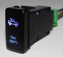Niebieska dioda LED samochodów Push przycisk przełącznika taca światła dla Toyota Prado Toyota land Cruiser Hilux FJ Cruiser ON OFF przełącznik + drut 12 v 3Amp