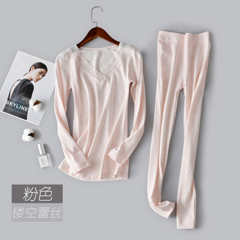Goddess bottoming shirt seamless body warm soft underwear set lace V-neck autumn clothing long pants long-sleeved striped suit enlarge