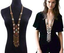 Nouveau collier bohème ZA collier ethnique pierre naturelle Maxi colliers en métal gland Long chandail chaîne pendentif pour les femmes