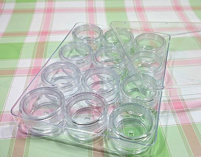 Frete grátis 5g/20g ps plástico transparente 12 grades catridge ornamentos/lentes de contato cosméticas/manicure caixa de armazenamento/