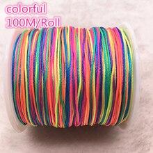 100M/Roll 0.8mm coloré Nylon cordon fil chinois noeud macramé cordon Bracelet tressé ficelle bricolage perles fil # 00Q