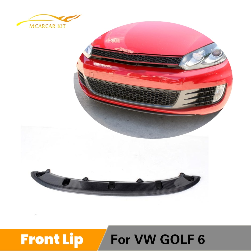 Carbon Fiber / FRP Black Car Front Bumper Lip Spoiler For Volkswagen VW Golf 6 MK6 GTI 2010 2011 2012 2013
