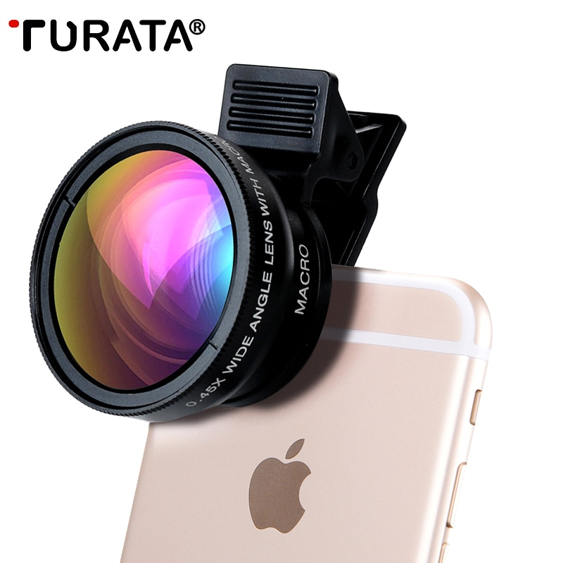 TURATA 0.45X gran angular + 12,5x lente Macro profesional HD teléfono Cámara lente para iPhone 8 7 6 6S Plus 5 5S SE Xiaomi Samsung LG