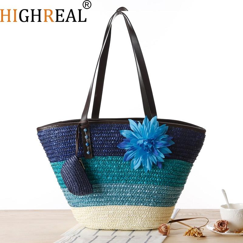HIGHREAL Knitted Straw Bag Summer Flower Bohemia Fashion Women's Handbags Color Stripes Shoulder Bags Beach Bag Big Tote Bags