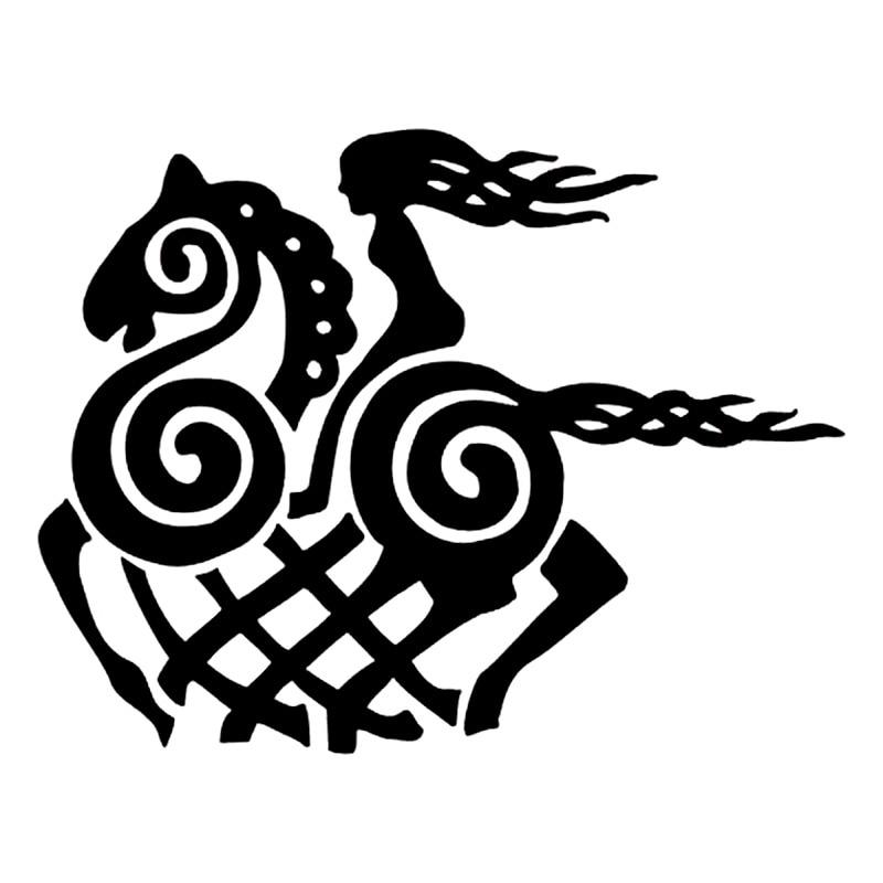 12,7 cm * 9,8 cm pegatina de vinilo de caballo de diosa vikinga de dibujos animados negro/pegatina de coche plateado S6-2877 de estilo de coche de moda