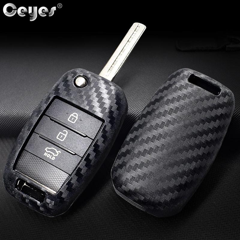 Ceyes-clé en Fiber de carbone   Accessoires de style de voiture, pour Kia KX5 K2 K3 K4 K5 Rio Sportage QL Ceed Sorento Cerato