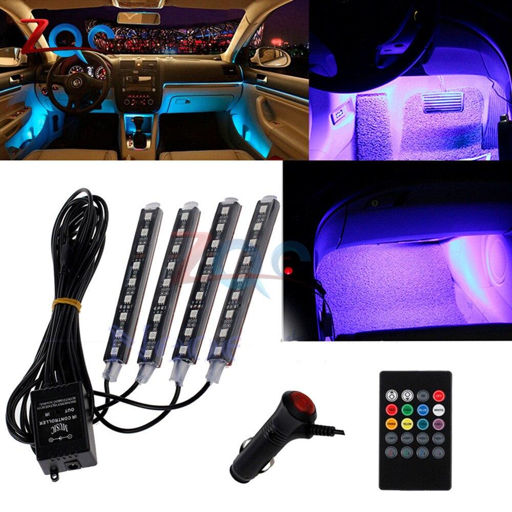 Auto Interni RGB color 9 LED tira de luz KIT inalámbrico Control de música 7 colores control remoto atmósfera luces 1 para 4