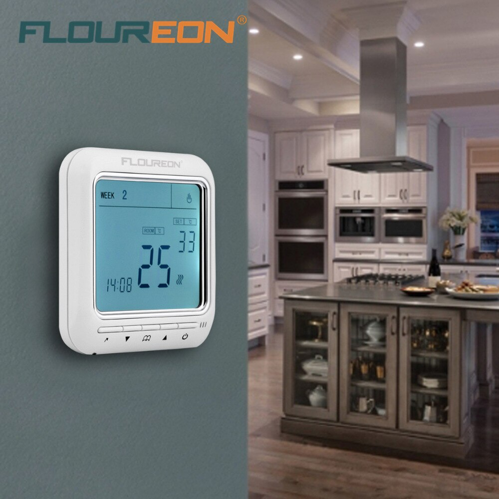 Controle de temperatura industrial/comercial/doméstico dos quartos do controle de temperatura do termostato de aquecimento do lcd digital floureon