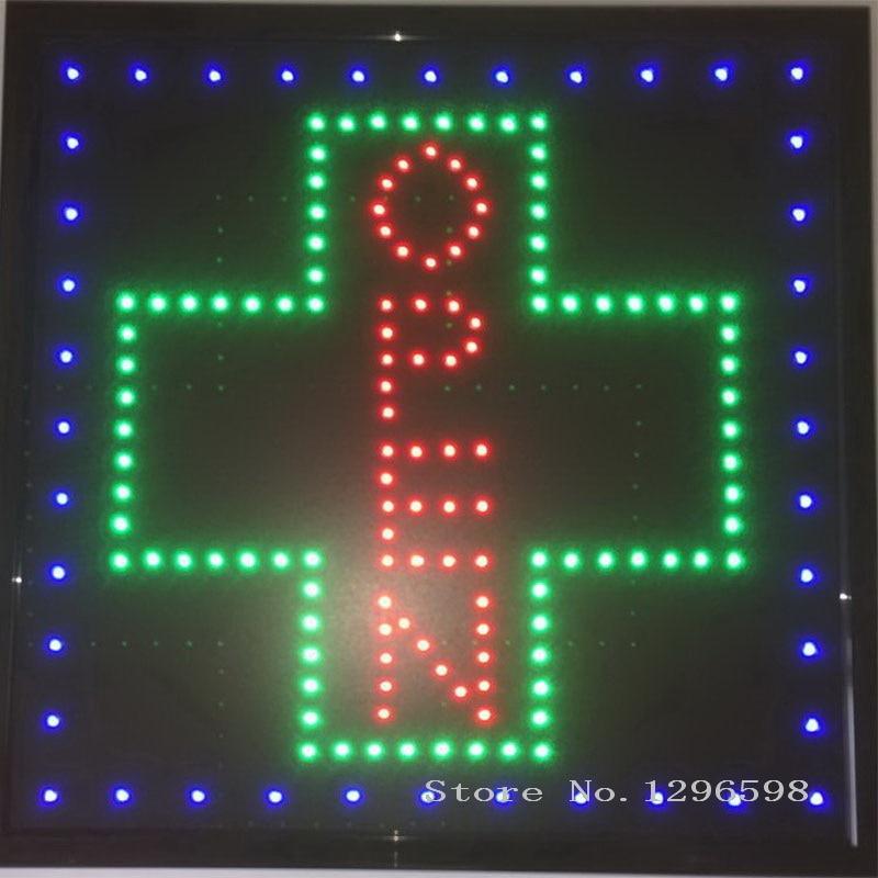 Signe croix graphique pharmacie led 15mm   Panneau dintérieur Led enseigne néon ouverte pour les entreprises, 19x19 pouces