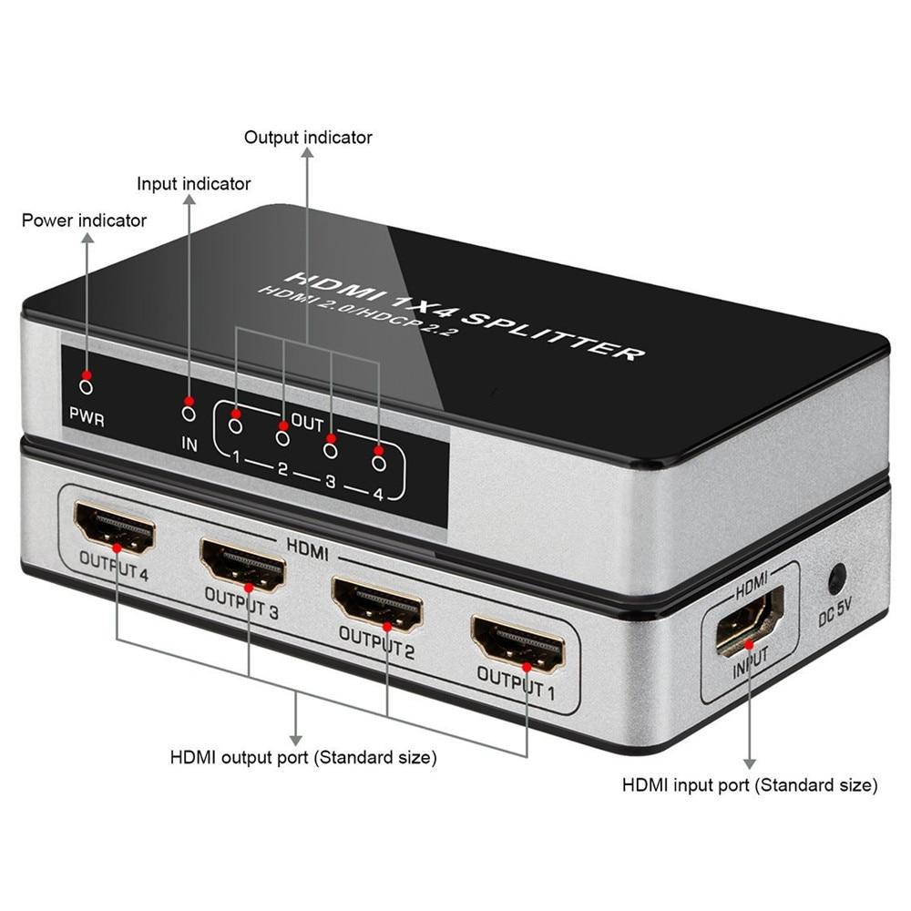 Сплиттер UHD HDMI 4 K, 60 Гц, 1x4, 1 вход, 4 выхода, HDMI 2,0, HDCP, 2,2, разветвитель, переключатель, концентратор 1080 P, 60 Гц для HDTV, PS3, DVD, STB