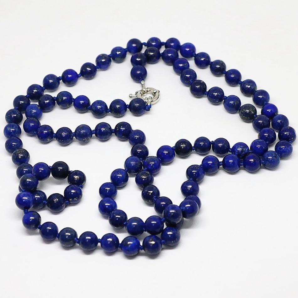Elegante collar de cuentas de cadena larga redondas de lapislázuli azul egipcio natural 8,10, 12mm joyería elegante de moda 36 pulgadas B1484