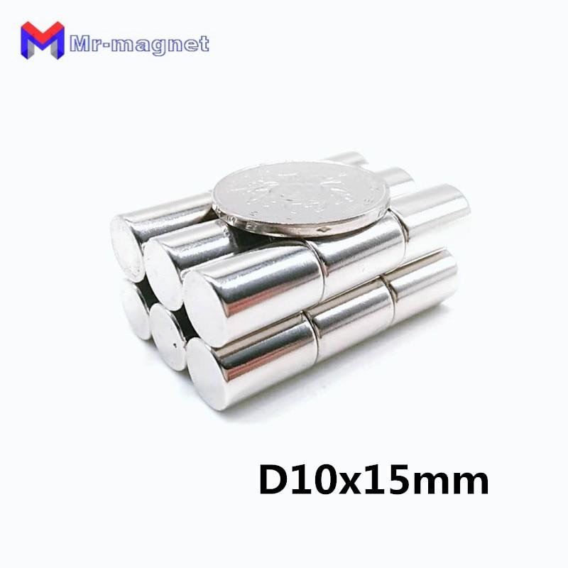 Imán D10x15mm D10x15 de 50 uds, imán NdFeB 10x15, imán de neodimio D10 x 15mm, 10x15, imán de tierras raras 10x15mm