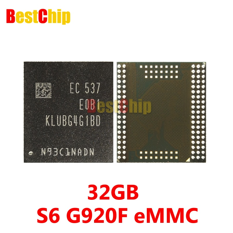 3 unids/lote 100% Original nuevo KLUBG4G1BD-E0B1 para Samsung S6 G920F eMMC 32GB memoria Flash IC NAND chip