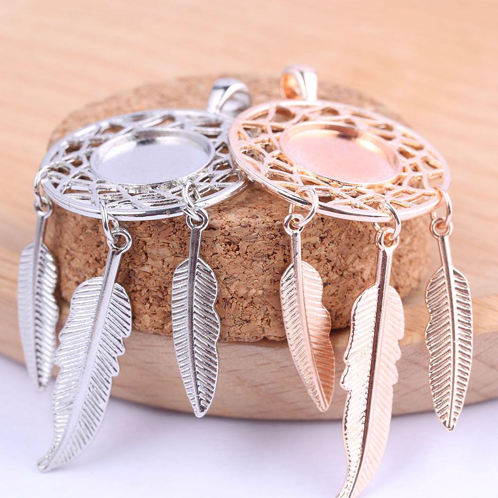 reidgaller 5pcs Fit 14mm cameo cabochon base settings diy dream catcher charm pendant bezel trays diy necklace jewelry findings