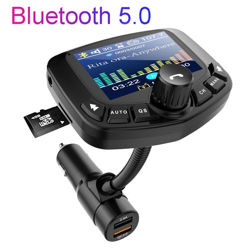 JINSER شحن سريع 3.0 سيارة بلوتوث 5.0 FM الارسال مشغل MP3 المزدوج USB منافذ شاحن سيارة FM المغير ولاعة السيارة Handfree