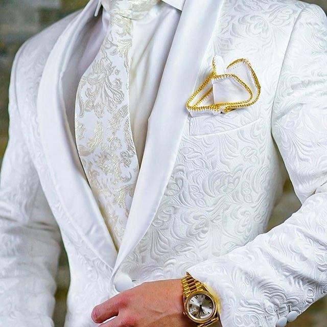 عالية الجودة زر واحد الأبيض بيزلي العريس البدلات شال التلبيب العريس الرجال الدعاوى بليزر (سترة السراويل التعادل) ث: 715