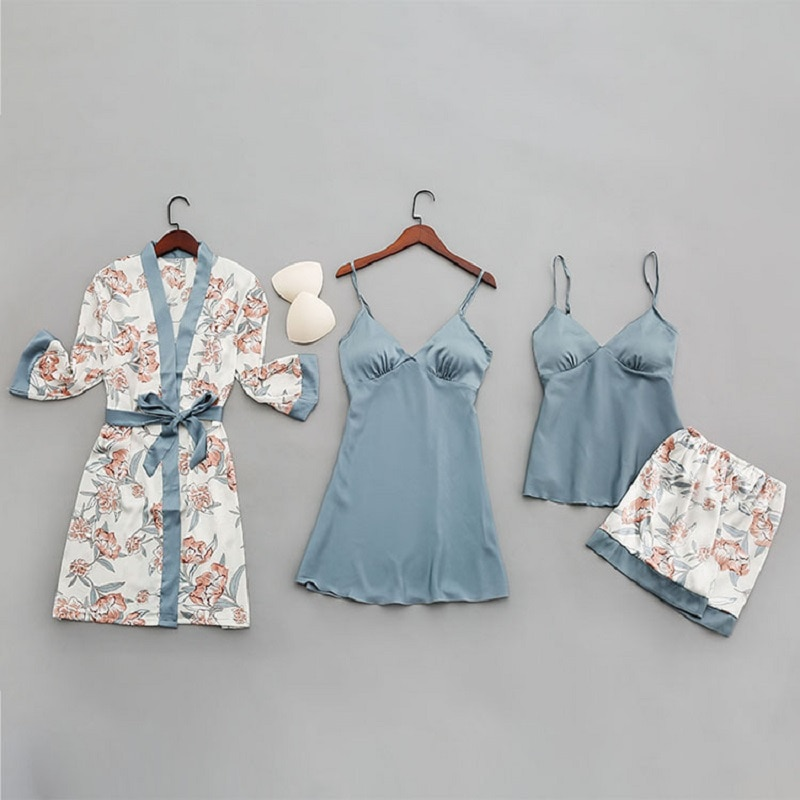 Sexy Women Pajamas Set 4 Pcs Sexy Lace Pyjamas Femme Girls Satin Silk Sleepwear Nightgown Pijamas Robes Sleep Lounge Homewear