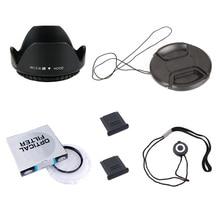 6 in1 49 52 55 58 62 67 72 77 82 millimetri UV lens filter + centro pinch Snap- on cover cap + lens cap linea + lens hood + 2 hot shoe