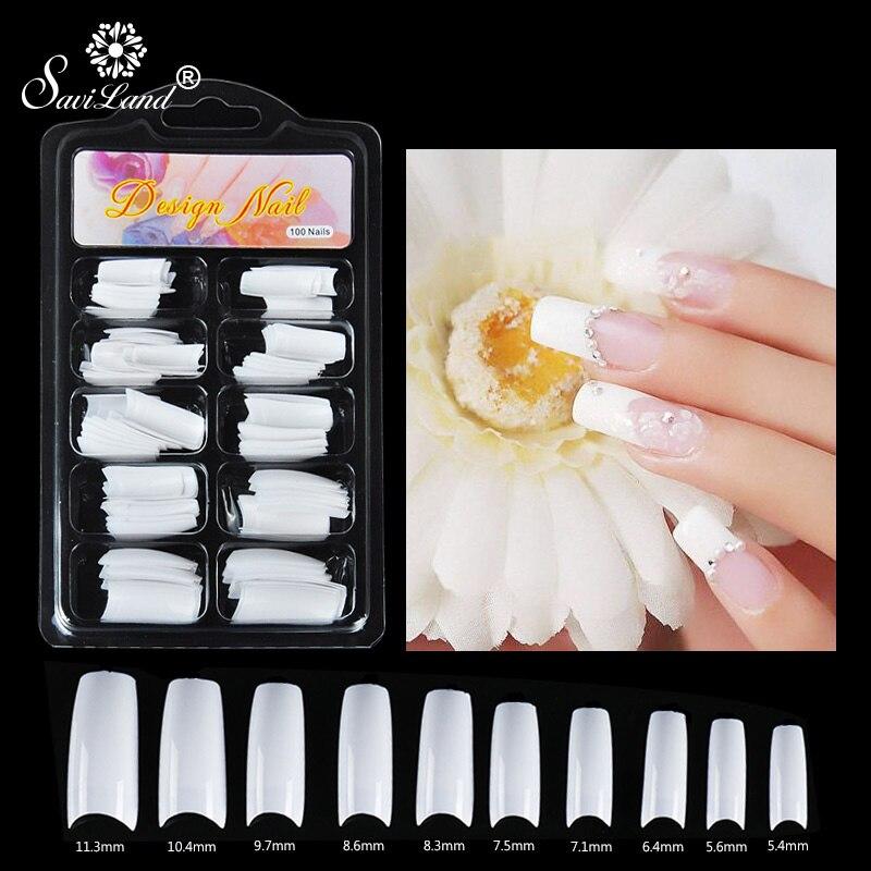 Saviland, cubierta de uñas falsas, acrílico francés, profesional completo, 100 uds, Gel polivinílico, extensión de uñas, modelo de Gel constructor de uñas