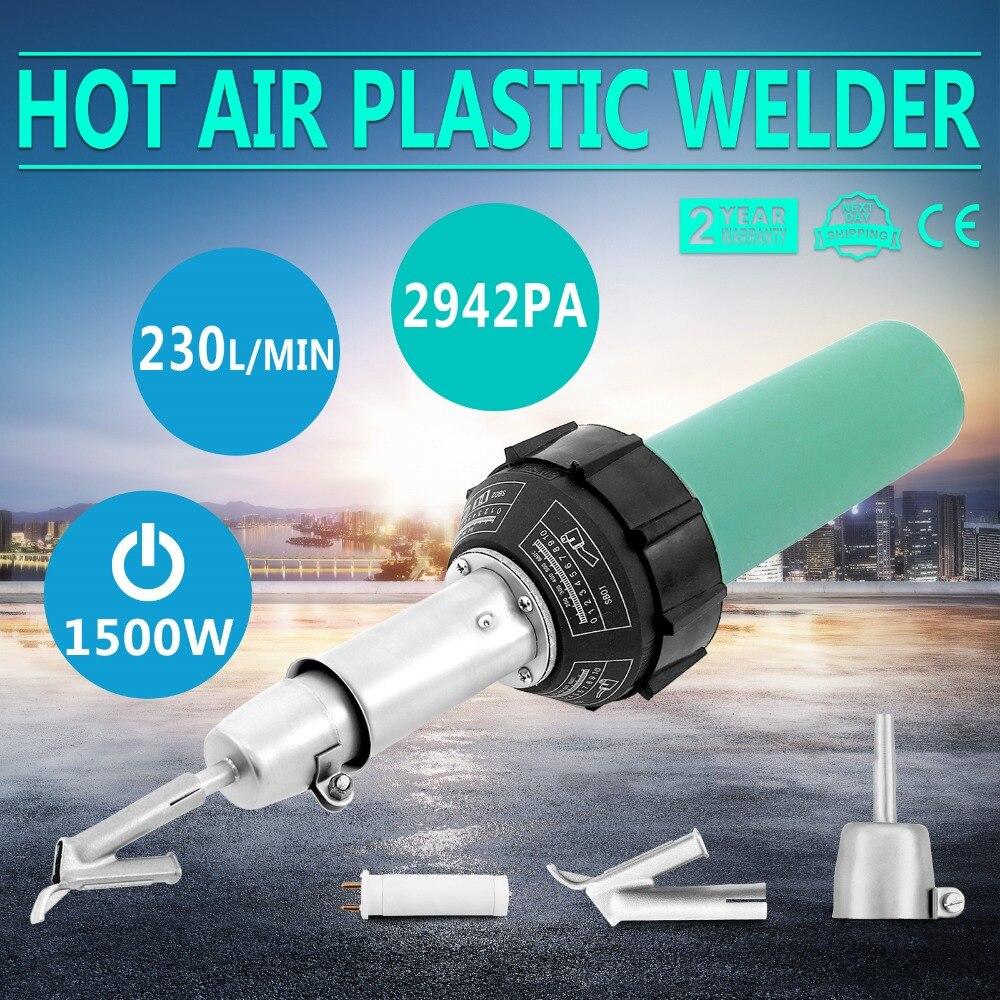 Kit plástico do soldador da arma de soldadura do ar quente 1500 w com rolo plástico da haste do pvc do pe
