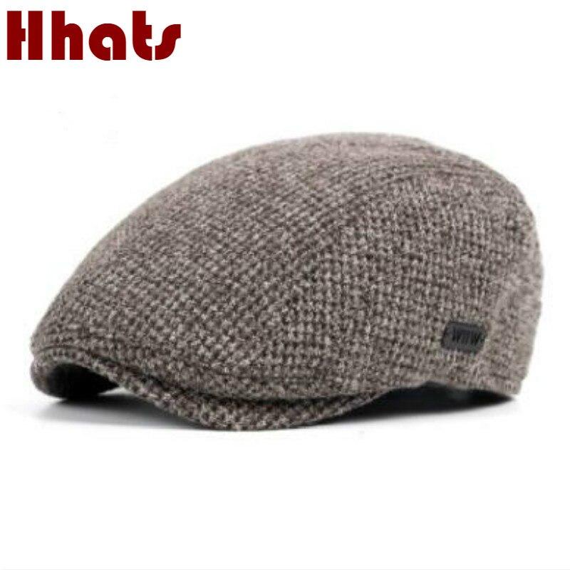 which in shower coffee beige coffee dark gray navy women men knitted beret hat adjustable thick warm winter flat peaked cap bone