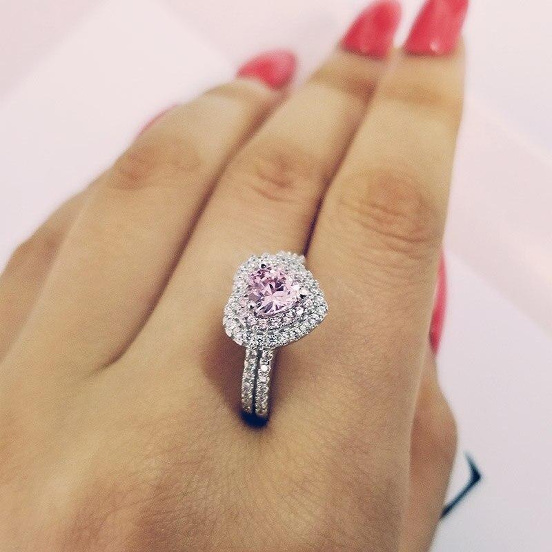 Anillo de Plata de Ley 925 auténtica, anillo de compromiso con forma de corazón para chica, amor, mujer, joyería de compromiso R4599S