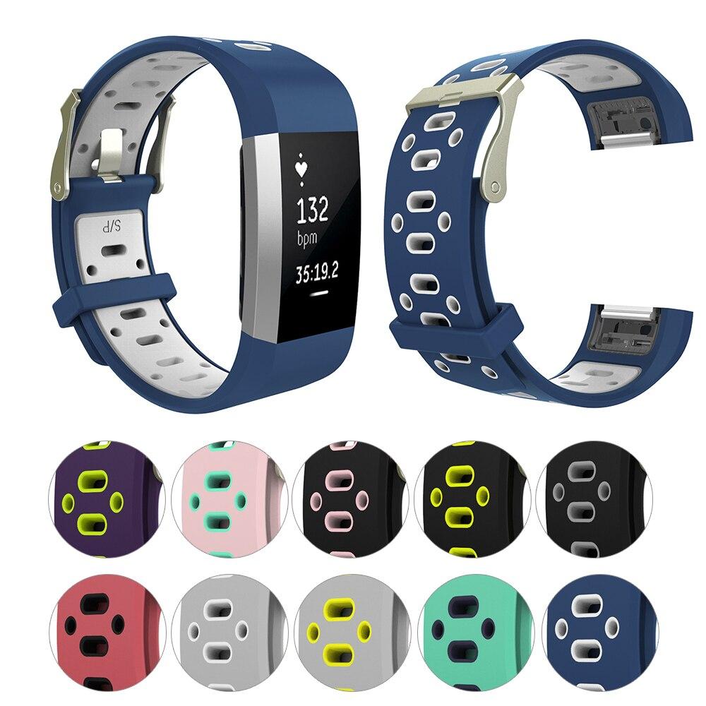 Correa de silicona transpirable para reloj Fitbit Charge 2, pulsera deportiva, piezas de bucle para Fitbit Charge 2