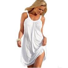 Robe de plage femmes vêtements robe ample sans manches été vêtements de plage Style décontracté solide femmes fronde robes femme boho chic