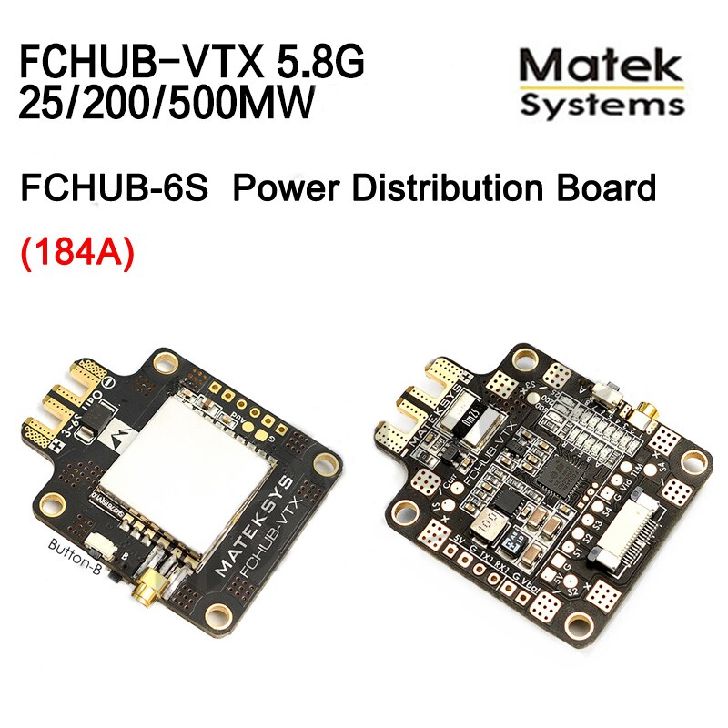 Matek systems FCHUB-VTX 6 27 27 v pdb 5 v/1a bec com 5.8g 40ch 25/200/500 mw comutável transmissor de vídeo para modelos de multicopter rc