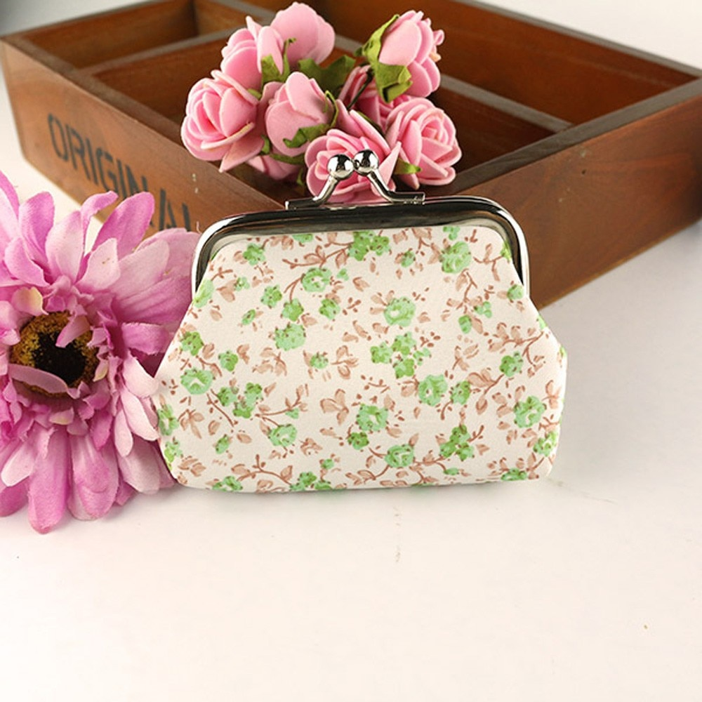 Las mujeres bolso de la señora Retro Vintage flor monedero pequeño monedero...