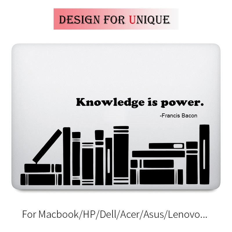 Conhecimento é Poder Citar Adesivo para Laptop Apple Macbook Pro Decalque Ar Retina 11 12 13 15 polegada de Vinil Superfície Livro Mac HP Mi pele