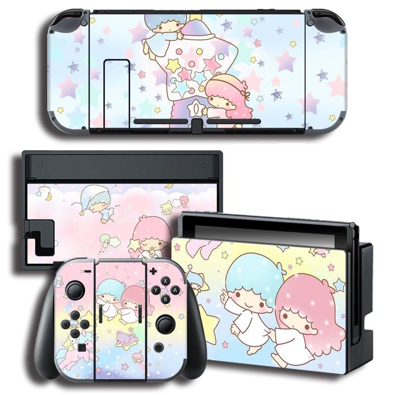 Pegatina protectora de vinilo para consola Nintendo Switch NS + controlador + soporte pegatinas de estrellas gemelas pequeñas