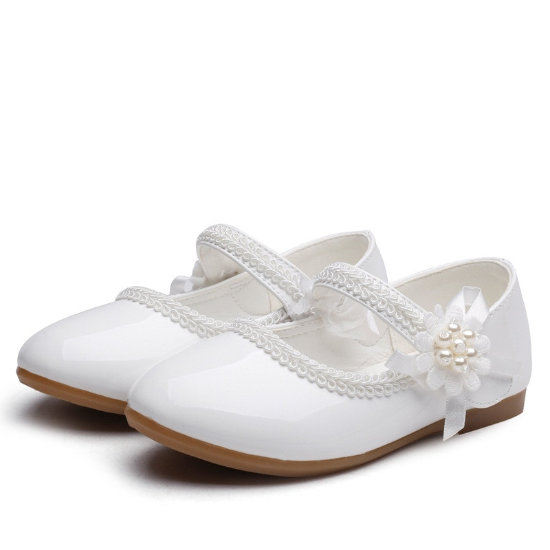 1 2 3 4 5 6 7T New Baby Girls Leather Shoes Flower Kids Shoes Princess Cocktail Party Shoes For Baby Girls Wedding Dress Shoes ssai kids girls princess shoes lace flowers girls leather shoes children dance dress shoes baby girls wedding party shoes