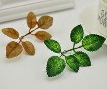 Feuilles vertes artificielles en Rose fleur bricolage   Couronne pour jardin, feuilles de noël, bouquet de mariée pour mariage, décoration de feuillage en soie, artisanat