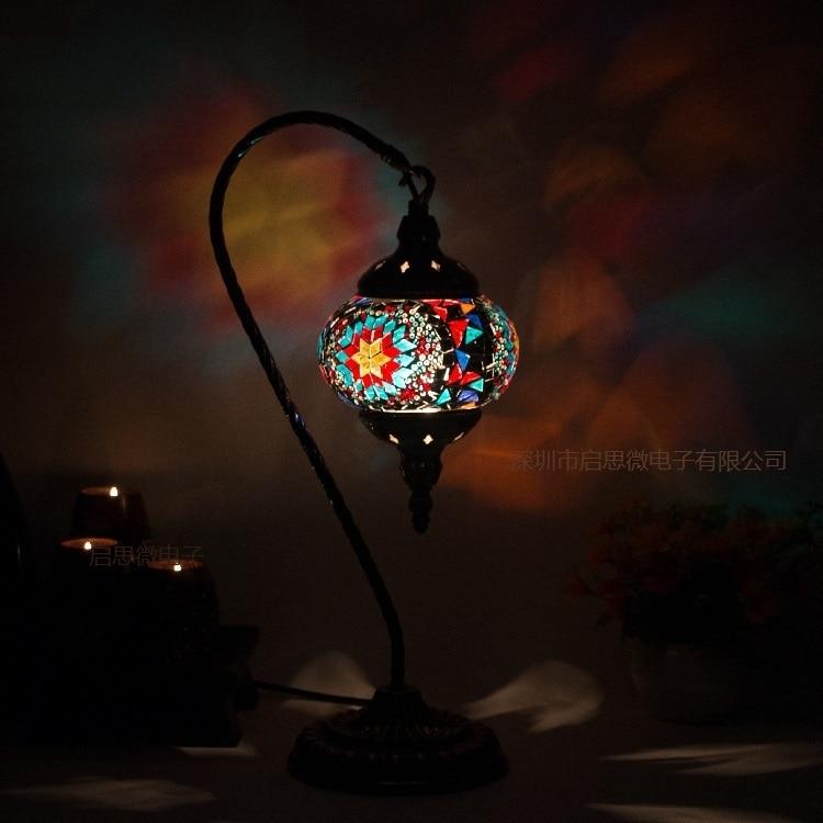 مصباح طاولة من الفسيفساء التركية ، مصباح سرير زجاجي ، ديكور عتيق ، مصنوع يدويًا ، فسيفساء