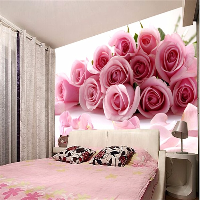 beibehang papel de parede 3D photo wallpaper Romantic painting Pink rose flower romantic living room bedroom mural wall paper