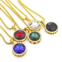hip hop round cut yellow gold filled blue pendant with box chain