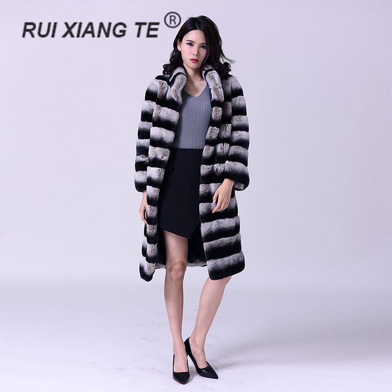 معطف نسائي طويل من فرو الأرانب الأصلي ، معطف شتوي دافئ ، ماركة فاخرة جديدة ، لون شينشيلا